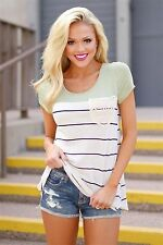 New Fashion Women Summer Short Sleeve Stripe Casual Loose Tops Blouse T-shirt