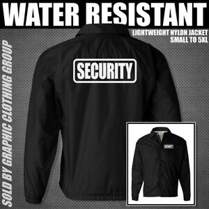 Black Security Jacket - Lightweight Nylon - S to 3X - Uniform - Guard - Staff