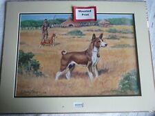 More details for basenji dog print, mounted for framing, edwin megargee