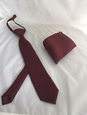 """Wine Burgundy Polyester Boys/Teens Pre knotted tie-2.5"""" +Hanky Set-Fits 6 Years+"""