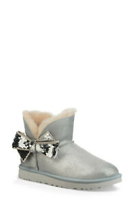 $210 UGG Mini Sequin Bow Wool Lined SHEARLING Bootie SIVLER 5 (SE6)