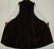 Gorgeous Dark Mahogany Mink Fur long Vest Coat Size 6-8 FREE SHIP Excell Condit