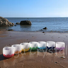8 Inch 7 Pieces of Different Notes Quartz Crystal Singing Bowl Set Lotus Chakra