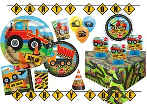 Construction Building Digger Trucks Birthday Party Tableware Supplies Decoration