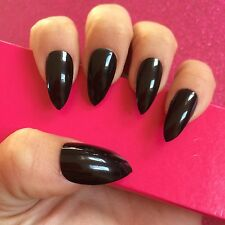 Full Cover Hand Painted False Nails. Stiletto High Gloss Black Nails. 24 Nails.