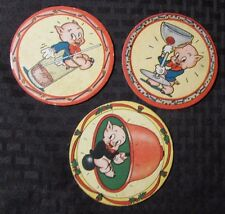 """1940's Vintage PORKY PIG 3.75"""" Coaster Cardboard VG+ LOT of 3"""