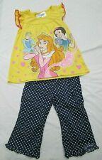 ❤ DISNEY Princess shirt tunic pants outfit yellow navy cotton size 4 4T FREESHIP