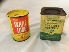 Lot Of 2 Antique Vintage Advertising Tins John Deere~Siloo White Lube