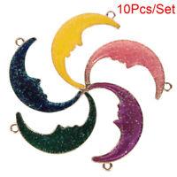 10Pcs/Set Enamel Alloy Moon Charms Pendant Jewelry Finding DIY Making Craft Gift