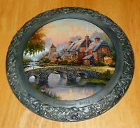 Collector Plate Thomas Kinkade  25th Anniv Master Pewter Cobblestone Bridge COA