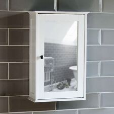 Home Bathroom Cabinet Single Mirrored Door Wall Mounted White