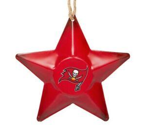 Tampa Bay Buccaneers Christmas Tree Holiday Ornament - Team Logo Metal 3D Star