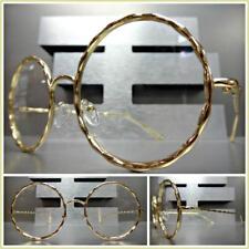 Men or Women VINTAGE RETRO Style Clear Lens EYE GLASSES Round Gold Fashion Frame