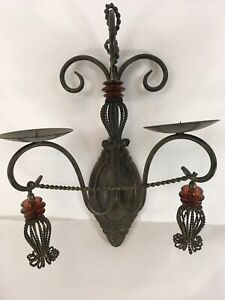 French Style Chandelier Shabby Chic Wall Sconce Metal Red Glass 2 Candle Holder