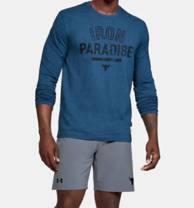 Under Armour Project Rock Tee Mens Large New Long Sleeve Iron Paradise Blue