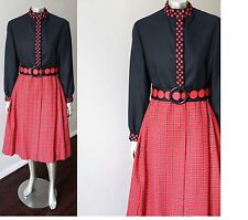 SAKS FIFTH AVENUE Wool Tartan Plaid Vintage 50s 60s Wrap Belt Red Black Dress M