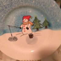 American Atelier At Home Snowman 5068 Salad Plates Set Of Four