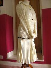 TOPSHOP VINTAGE 20s dress tennis flapper gatsby duster coat UK 6 8 ivory gown