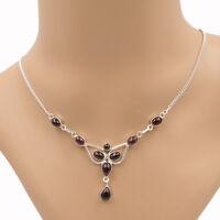 Granat  Collier Kette Silber 925 Sterlingsilber Edelsteine Halskette Damen ts fy