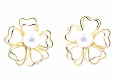 Delicate 3D gold tone cutout plum flower stud earrings with pearl