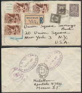 5460 - MEXICO 1947 UP-RATED REGISTERED STATIONERY D.F. TO NYC