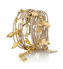 Bracelet Leather Wrap Designer Golden Swarovski Crystal 24k Gold Charms Cream
