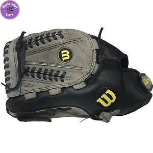 "Wilson 13"" AO3LS15 13 A360 Leather Baseball Glove Black/Grey Left Hand Throw"