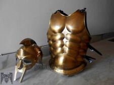 ANTIQUE MUSCLE ARMOR & GLADIATOR MOVIE HELMET MUSCLE JACKET BRASS FINISH GIFT