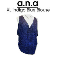 XL a.n.a Flashy Blue Tortoise Lightweight Rayon Blouse Top Very Good Condition