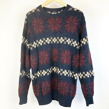 Woods & Gray Mens Sweater Size Large Vintage Blue Red White Long Sleeve