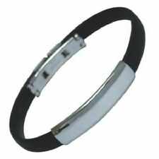 Black Rubber Bangle Bracelet Hypoallergenic Surgical Steel Brand New