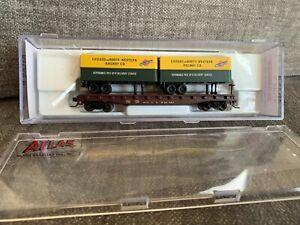 N Scale Atlas Trainman CNW Piggy Back Flat w/2 24' Trailers Chicago Northwestern