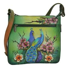 "Anuschka #550-PPK 'PASSIONATE PEACOCKS' EXPAND TRAVEL CROSSBODY 9""x8.5""x2.5"" NWT"