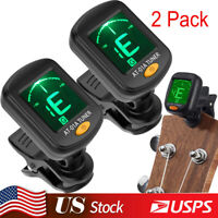 2 Pack Chromatic LCD DIGITAL Clip On Electric Tuner F Bass Guitar Ukulele Violin
