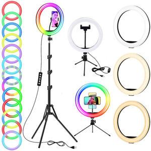 "12"" 10"" RGB LED Ring Light Tiktok Makeup Video Phone Selfie Stand+1.6M Tripod"