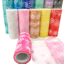 LT_ JW_ HN- 9.2m Snowflake Print Tulle Roll Spool Xmas Party Gifts Craft Dress