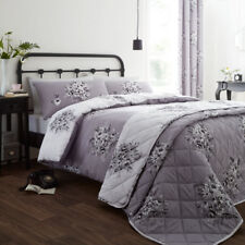 Catherine Lansfield Floral Bouquet Quilted Bedspread, Grey, 220 x 230 Cm