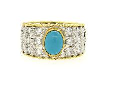 Buccellati 18k Gold Diamond Turquoise Band Ring