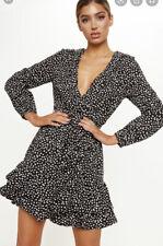 Pretty Little Thing Black Dalmatian Print Wrap Long Sleeve Tea Dress UK 4-6 EK47