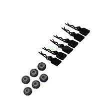 6 X RC Auto Body CLIP NERA + SCHEDE & 6 x m4 4mm DADI DELLE RUOTE 1/10 1/12 1/16 Tamiya