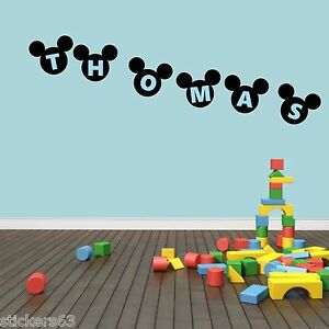 Personalised Mickey Mouse Ears Wall Art Sticker Boys Bedroom PRICE IS PER LETTER