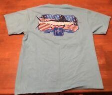 Guy Harvey AFTCO Bluewater US Flag/Sailfish Image ShortSleeve T-Shirt SZ M Blue
