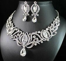 Clear Rhinestone Crystal Necklace Earring Set Silver Thick Bling Dramatic Collar