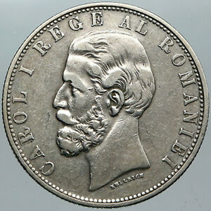 1881 ROMANIA with KING CAROL I & Shield Large ANITQUE Silver 5 Lei Coin i88786