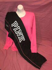 Victoria Secret PINK Campus Pant Bright Campus Oversized L/S Tee Set New L XL ❤️