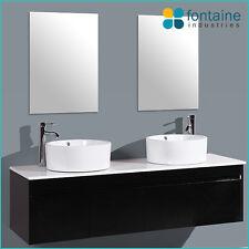 Black Gloss Vanity Unit Wall Hung Mounted 1500 Twin Double Ceramic Basins Doors