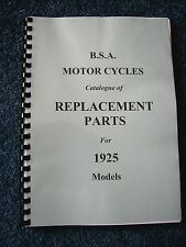 BSA Parts Manual Book for all 1925 models