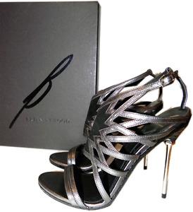 $495 B Brian Atwood Marseille Gladiator Metal Heel  Sandals Pump Shoe  7- 37