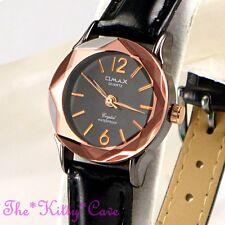 Swiss OMAX Ladies Slim Seiko Movt Cut Glass Mineral Black Leather Watch CN7016