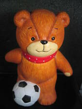 Enesco Vintage Lucy & Me Bear Soccer Player Bank 1986